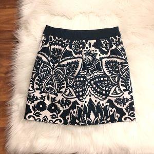 Merona Blue/Cream Patterned Skirt Sz 6